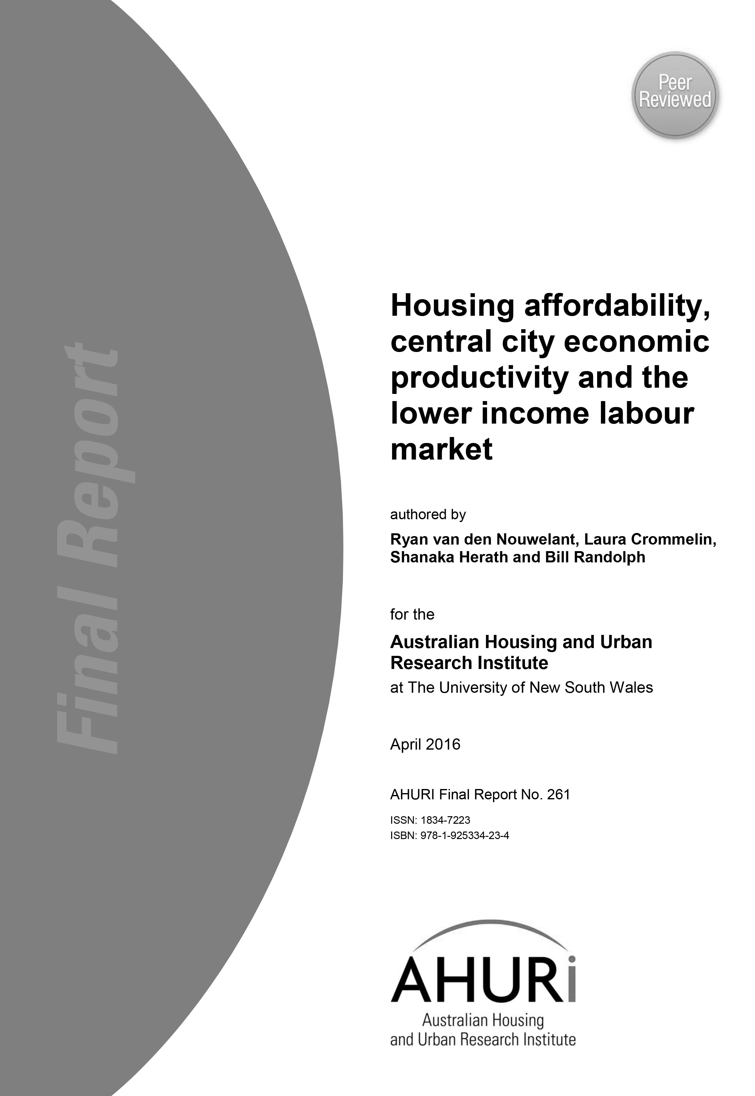 Final Report - Housing affordability, central city economic productivity and the lower income labour market